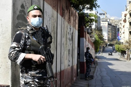 Security forces set up check points at streets as a state of emergency has been declared due to the coronavirus outbreak in Beirut, Lebanon on 22 March 2020 [Hussam Chbaro/Anadolu Agency]