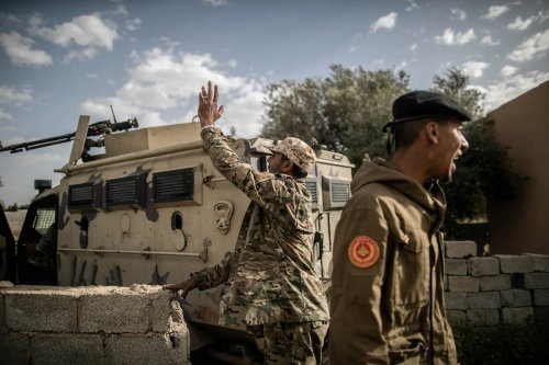 """Libyan Army forces attend """"Operation Peace Storm"""" of the Libya's Government of National Accord (GNA) against the forces of warlord Khalifa Haftar in Tripoli, Libya on 27 March, 2020 [Amru Salahuddien/Anadolu Agency]"""