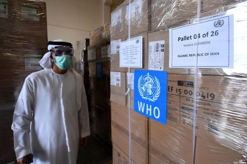 Tonnes of medical equipment and coronavirus testing kits provided bt the World Health Organisation are pictured at the al-Maktum International airport in Dubai on 2 March, 2020 [KARIM SAHIB/AFP via Getty Images]