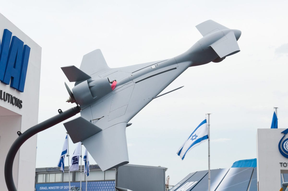 An Israeli Aerospace Industries (IAI) Harop UAV, designed to take out air defences in a kamakazi-style attack, seen at the Paris Air Show on June 19, 2013 [Julia Herzog / Wikimedia]