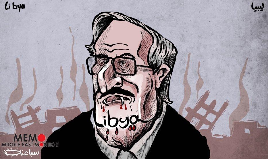 Bloody Haftar - Cartoon [Sabaaneh/MiddleEastMonitor]