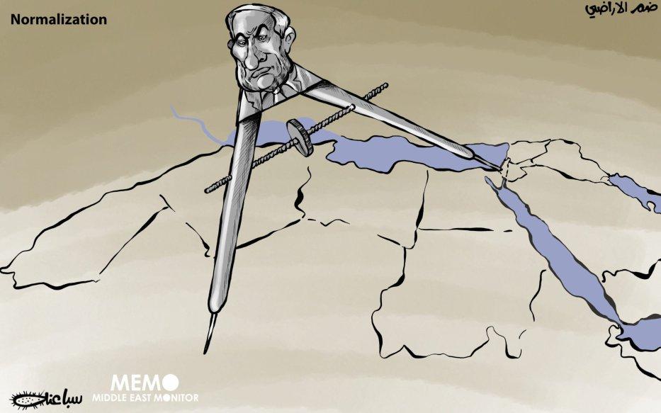 Normalisation - Cartoon [Sabaaneh/MiddleEastMonitor]