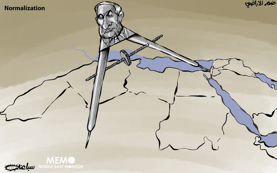Normalisation - Cartoon [Sabaaneh/MiddleEastMonitor]