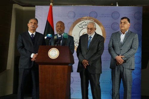 Ministers in Libya hold a joint press conference on measures against the coronavirus (Covid-19) pandemic in Tripoli, Libya on 16 March 2020 [Hazem Turkia/Anadolu Agency]