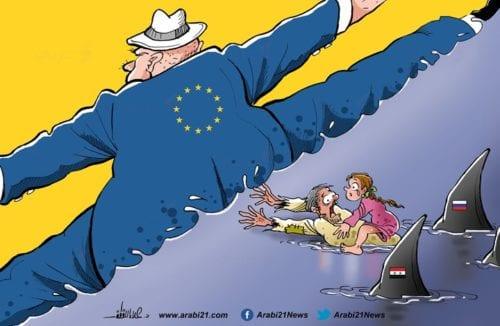 Syrian refugees and the EU [Cartoon/Arabi21]