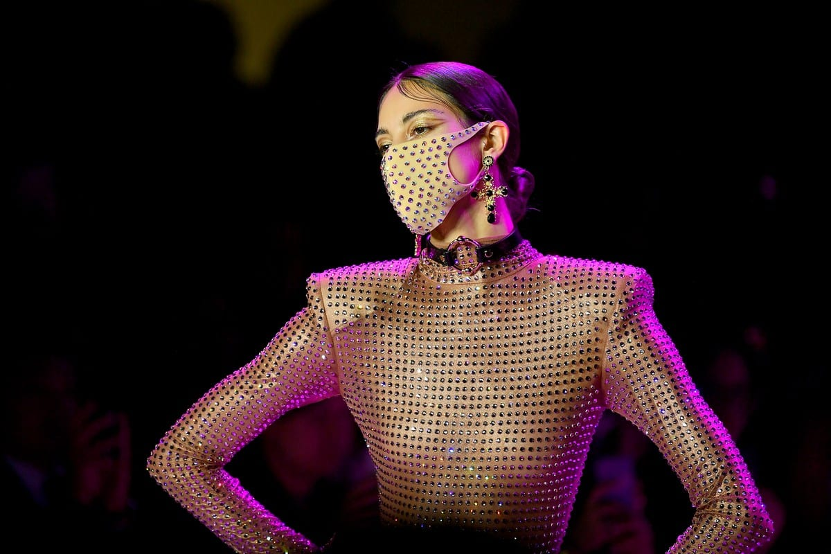 A model wearing a Pitta Mask walks the runway for New York Fashion Week on 9 February 2020 in New York City, US [Roy Rochlin/Getty Images for NYFW: The Shows]
