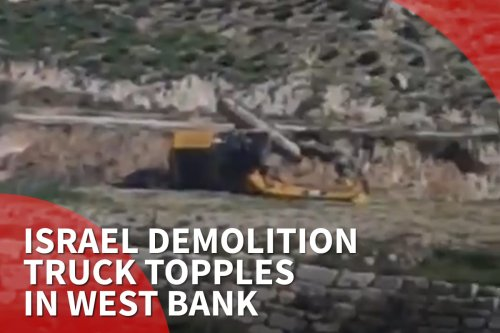 Thumbnail: Israel demolition truck topples in West Bank