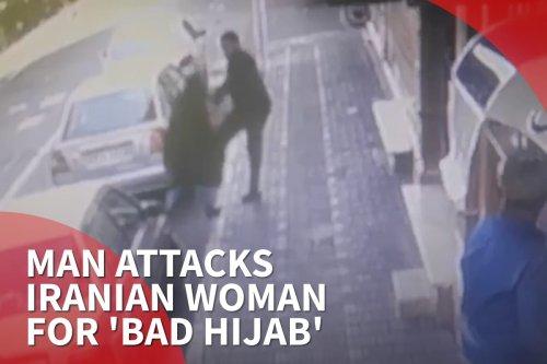 Thumbnail; - Man attacks Iran woman for 'bad hijab'