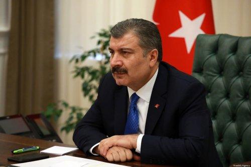 Turkish Health Minister Fahrettin Koca attends the Coronavirus Science Board meeting via video conference in Ankara, Turkey on April 3, 2020. [Aytuğ Can Sencar - Anadolu Agency]