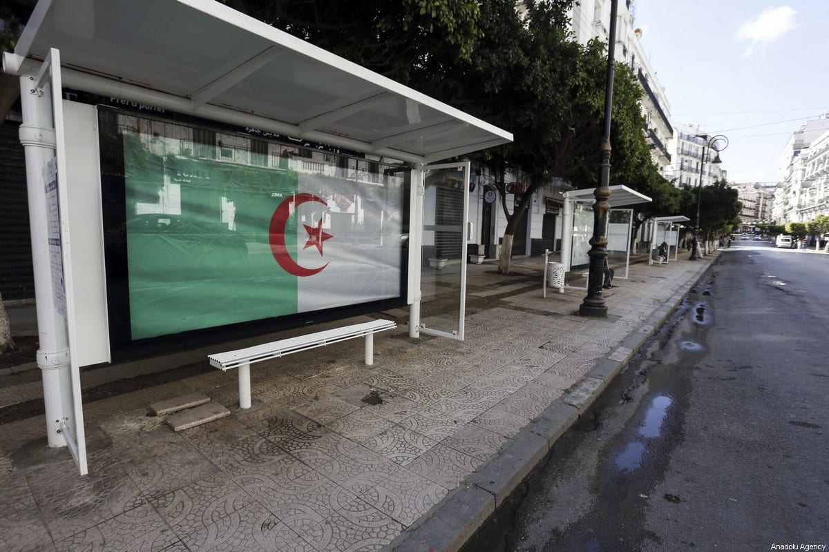 A view of an empty bus stop after a curfew as part of coronavirus (COVID-19) precautions in Algiers, Algeria on 4 April, 2020 [Barouk Batiche/Anadolu Agency]