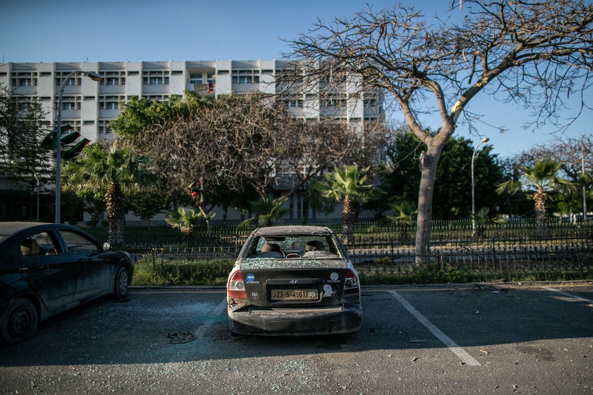 A view of damaged vehicle at hospital garden after Haftar forces' rocket attacks hit the al-Hadra Hospital, which has many patients with chronic illnesses and especially coronavirus (COVID-19) , in Tripoli, Libya on April 5, 2020 [Amru Salahuddien / Anadolu Agency]