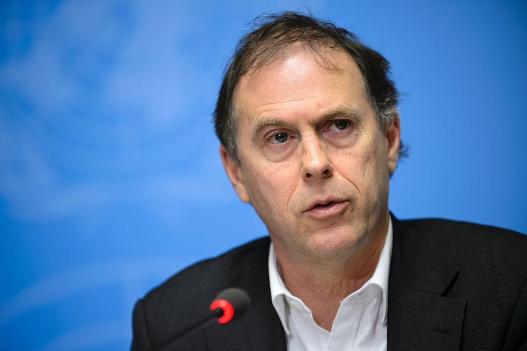 UN High Commissioner for Human Rights spokesperson Rupert Colville give a press briefing on 29 January, 2016 in Geneva [FABRICE COFFRINI/AFP via Getty Images]