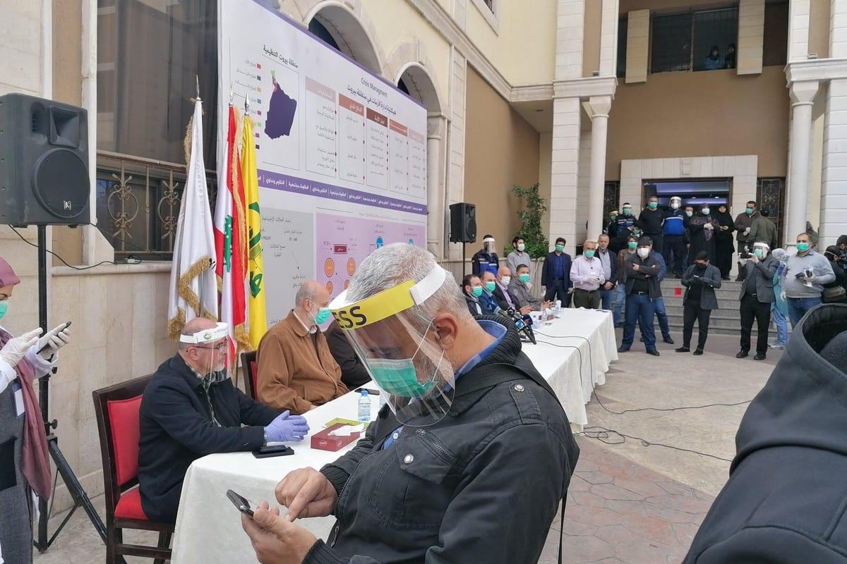 Hezbollah media tour of their anti- coronavirus campaign in Lebanon 31 March 2020 [Sunniva Rose/Twitter]
