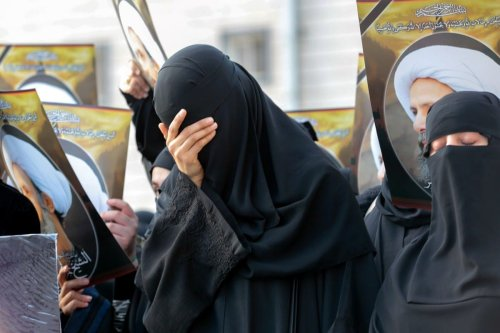 Saudi women react during a protest against the execution of cleric Nimr Al-Nimr by Saudi authorities in Qatif, Saudi Arabia on 8 January 2016 [STR/AFP via Getty Images]