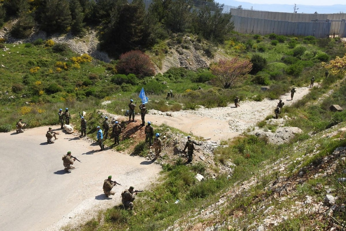 Lebanese Army soldiers faced off with Israeli troops after reports the latter had crossed the Blue Line on 14 April 2020 [Twitter]