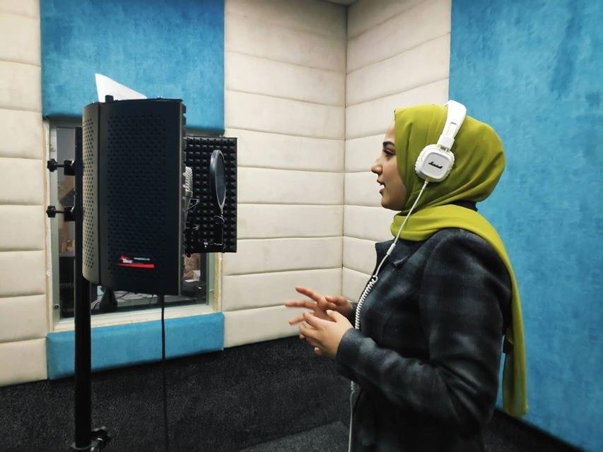 Lubna Harazin at work in the studio: The Gaza Strip, Palestine