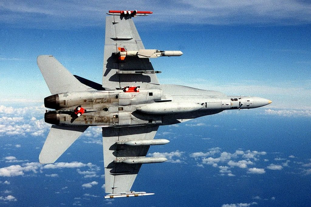 F-18C with SLAM-ER missile and AWW-13 pods in flight [Wikipedia]
