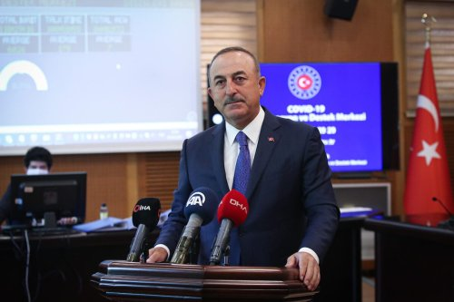 Turkish Foreign Minister Mevlut Cavusoglu speaks to the press at Covid-19 Coordination and Support Center in Ankara, Turkey on May 5, 2020 [Cem Özdel / Anadolu Agency]