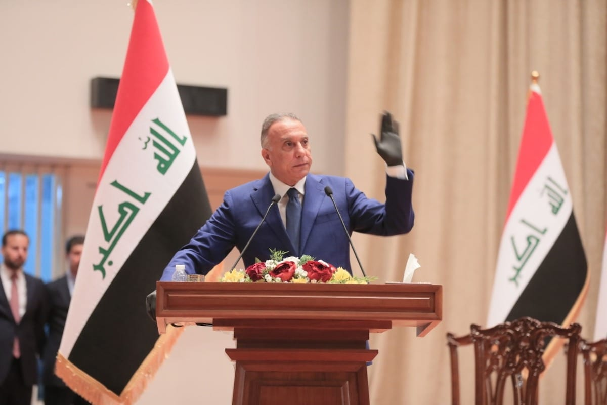 Iraqi PM-designate Mustafa al-Kadhimi who is at the parliament for vote of confidence in Baghdad, Iraq makes a speech on 6 May 2020. [Iraqi Parliament / Handout - Anadolu Agency]
