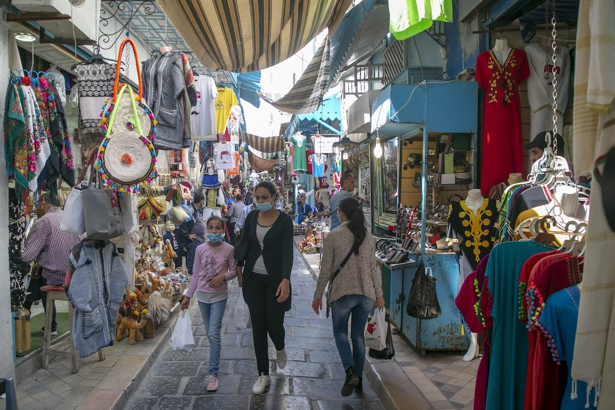 People are seen out for shopping in bazaars after measures against the novel coronavirus (COVID-19) began to be lifted gradually since 4th of May for normalization process in Tunis, Tunisia on May 11, 2020 [Yassine Gaidi - Anadolu Agency]