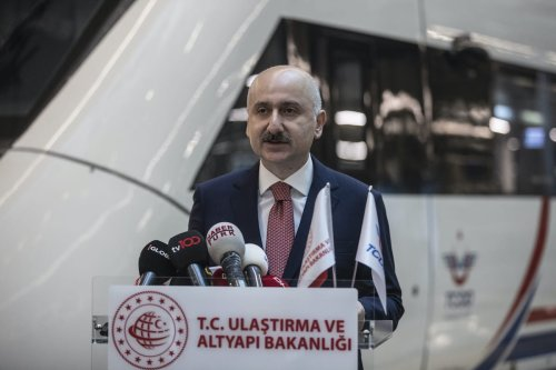 Turkish Transport and Infrastructure Minister Adil Karaismailoglu makes speech in the ceremony held in Ankara railway station as train services resume after they have been suspended as part of coronavirus precautions, in Ankara, Turkey on 28 May 2020. [Esra Hacioğlu - Anadolu Agency]