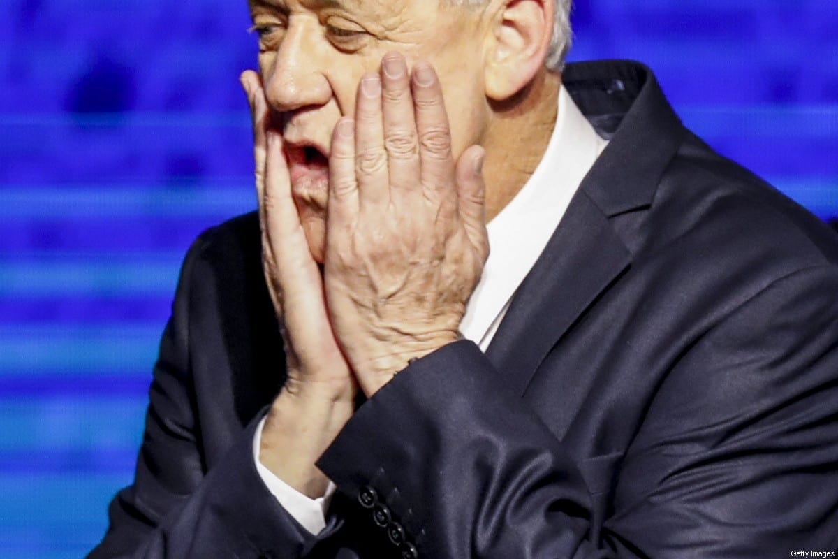 Retired Israeli general Benny Gantz, one of the leaders of the Blue and White (Kahol Lavan) political alliance, reacts as he appears before supporters at the alliance headquarters in Tel Aviv on April 10, 2019 [MENAHEM KAHANA/AFP via Getty Images]