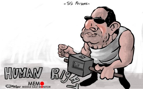 Sisi's Prisons - Cartoon [Sabaaneh/MiddleEastMonitor]