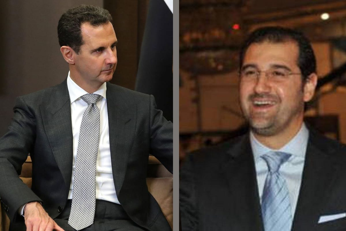 Syrian President Bashar Al-Assad in Sochi, Russia on 21 November 2017 [Kremlin Press Office/Anadolu Agency] and Rami Makhlouf, a wealthy businessman and the cousin of Syrian President Bashar Al-Assad [Twitter]