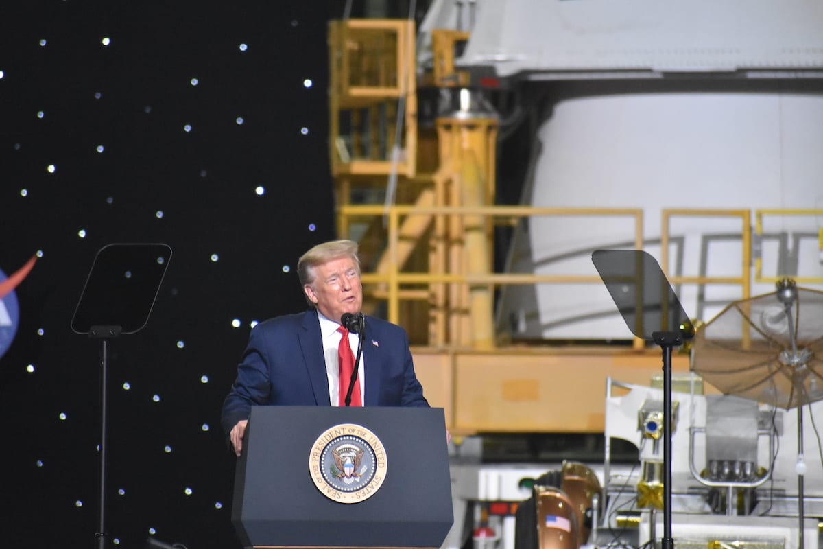 President Donald Trump speaks after the launch of the SpaceX Falcon 9 rocket and Crew Dragon spacecraft on NASA's SpaceX Demo-2 mission to the International Space Station from NASA's Kennedy Space Center in Cape Canaveral, Florida on 30 May 2020. [Kyle Mazza - Anadolu Agency]