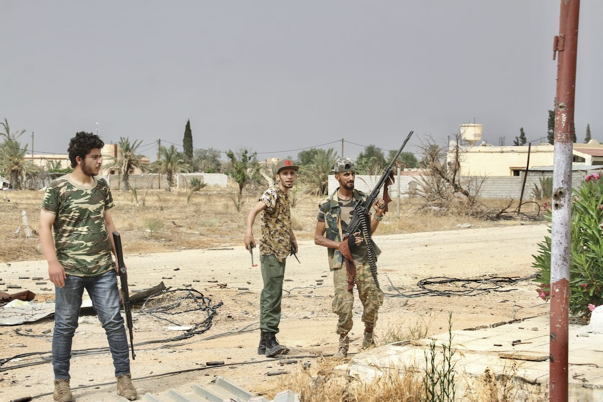 Libyan army forces are seen during clashes between Libyan army and warlord Khalifa Haftar's militias in the areas around Tripoli International Airport on 1 July 2020 in Tripoli, Libya. [Hazem Turkia - Anadolu Agency]