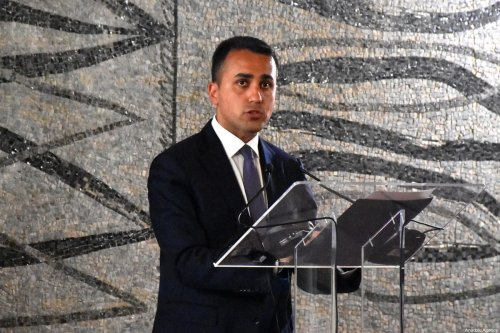 ROME, ITALY - JULY 03 : Italy's Foreign Minister Luigi Di Maio and his French counterpart Jean-Yves Le Drian (not seen) hold a joint press conference following their meeting on June 3, 2020 at the Farnesina Foreign Ministry in Rome, as the country eases its lockdown aimed at curbing the spread of the coronavirus (COVID-19). ( Barış Seçkin - Anadolu Agency )