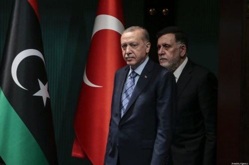 Turkish President Recep Tayyip Erdogan (L) and Libyan Prime Minister Fayez al-Sarraj (R) hold a joint press conference at Presidential Complex in Ankara, Turkey on 4 June 2020. [Metin Aktaş - Anadolu Agency]