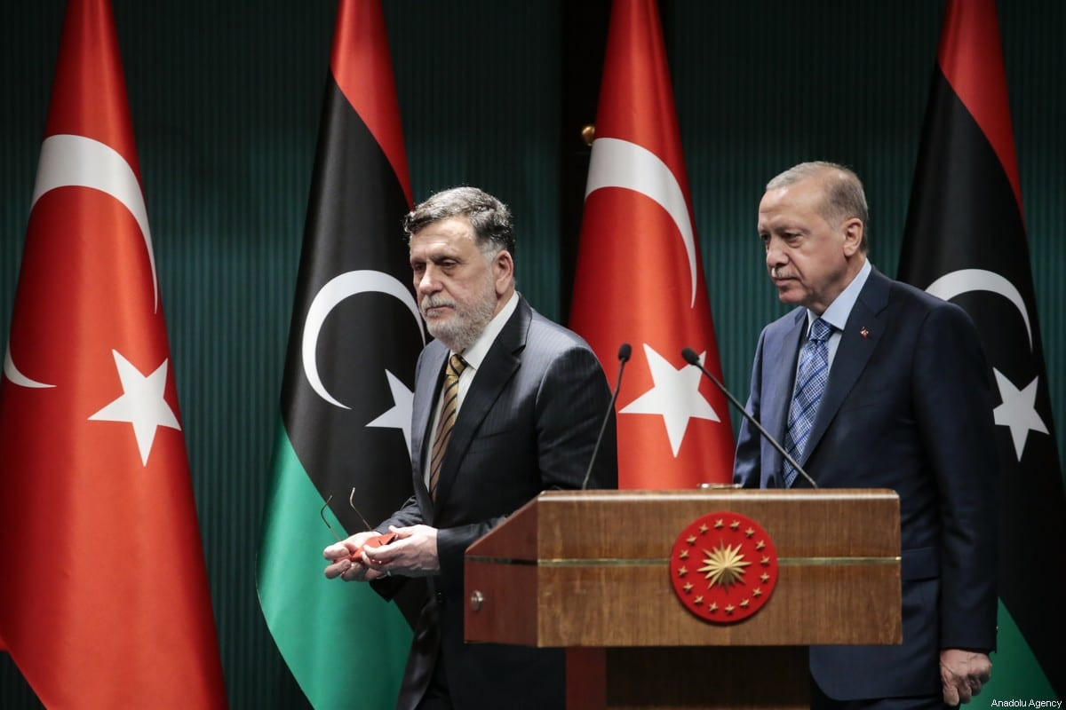 Turkish President Recep Tayyip Erdogan (R) and Libyan Prime Minister Fayez al-Sarraj (L) hold a joint press conference at Presidential Complex in Ankara, Turkey on 4 June, 2020 [Metin Aktaş/Anadolu Agency]