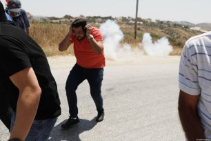 Palestinian protestors clash with Israeli forces during a protest marking the 53rd anniversary of Naksa or setback day, near the Jabara military check point in Tulkarm, West Bank, Palestine on June 5, 2020 [Issam Rimawi / Anadolu Agency]