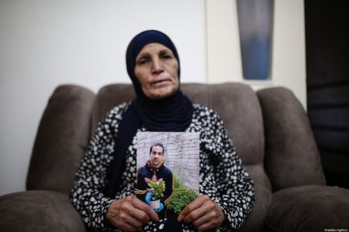 Rana Hallak, mother of autistic Palestinian man Iyad Hallak (32), who were killed by Israeli police in East Jerusalem, at the Old City's Lions' Gate on May 30, speaks during exclusive interview on her sadness telling that his son's murderers will remain unpunished in Jerusalem on June 02, 2020 [Mostafa Alkharouf / Anadolu Agency]