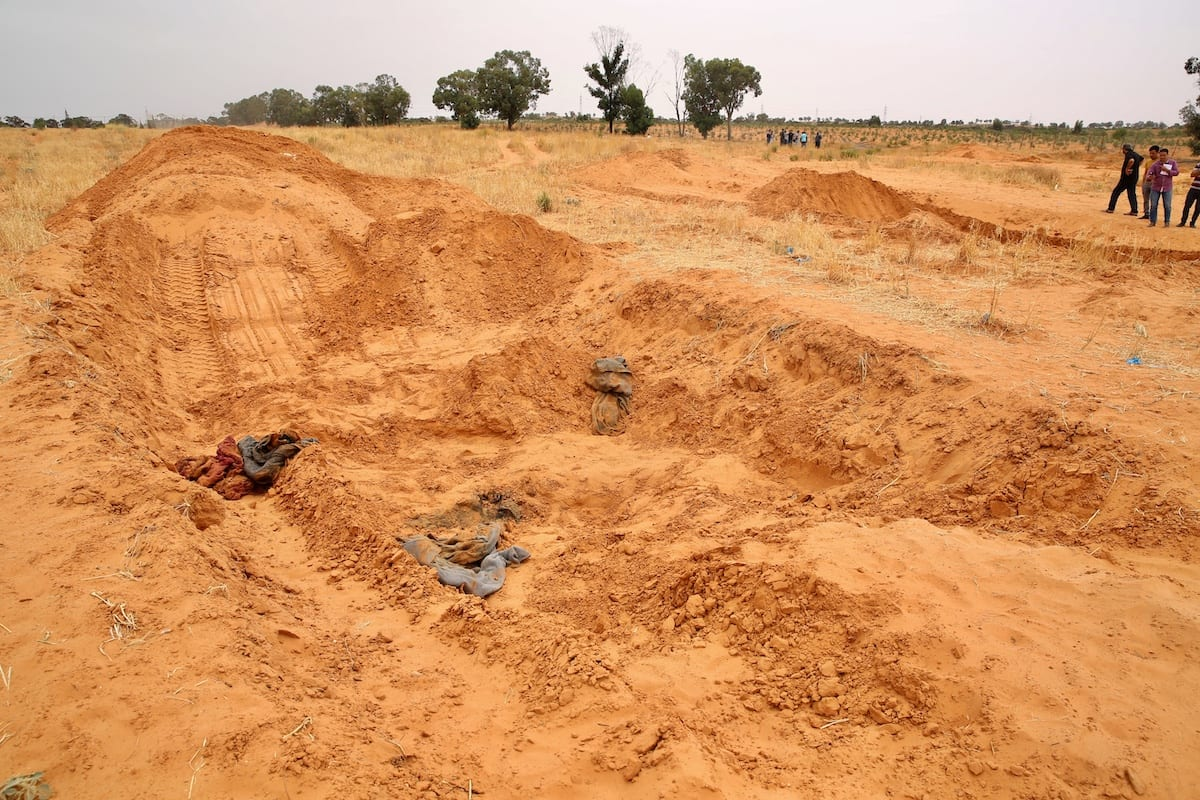 Bodies are found in a number of mass graves in Tarhuna after the province liberated from the militia loyal to Khalifa Haftar, in Libya on June 11, 2020 [Hazem Turkia / Anadolu Agency]