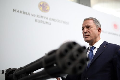 Turkish National Defense Minister Hulusi Akar visits Gazi Cartridge Factory in Ankara, Turkey on June 16, 2020 [Arif Akdoğan - Anadolu Agency]