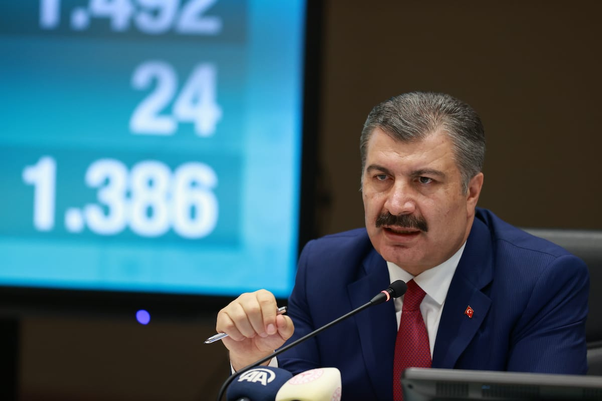 Turkish Health Minister, Fahrettin Koca speaks during a press conference after attending Science Board Meeting on Coronavirus (COVID-19) via video conference in Ankara, Turkey on 24 June 2020. [Aytuğ Can Sencar - Anadolu Agency]