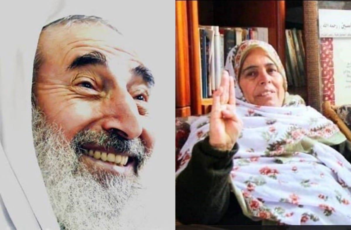 Halima Yassin(R), the widow of Hamas founder Sheikh Ahmed Yassin (L)