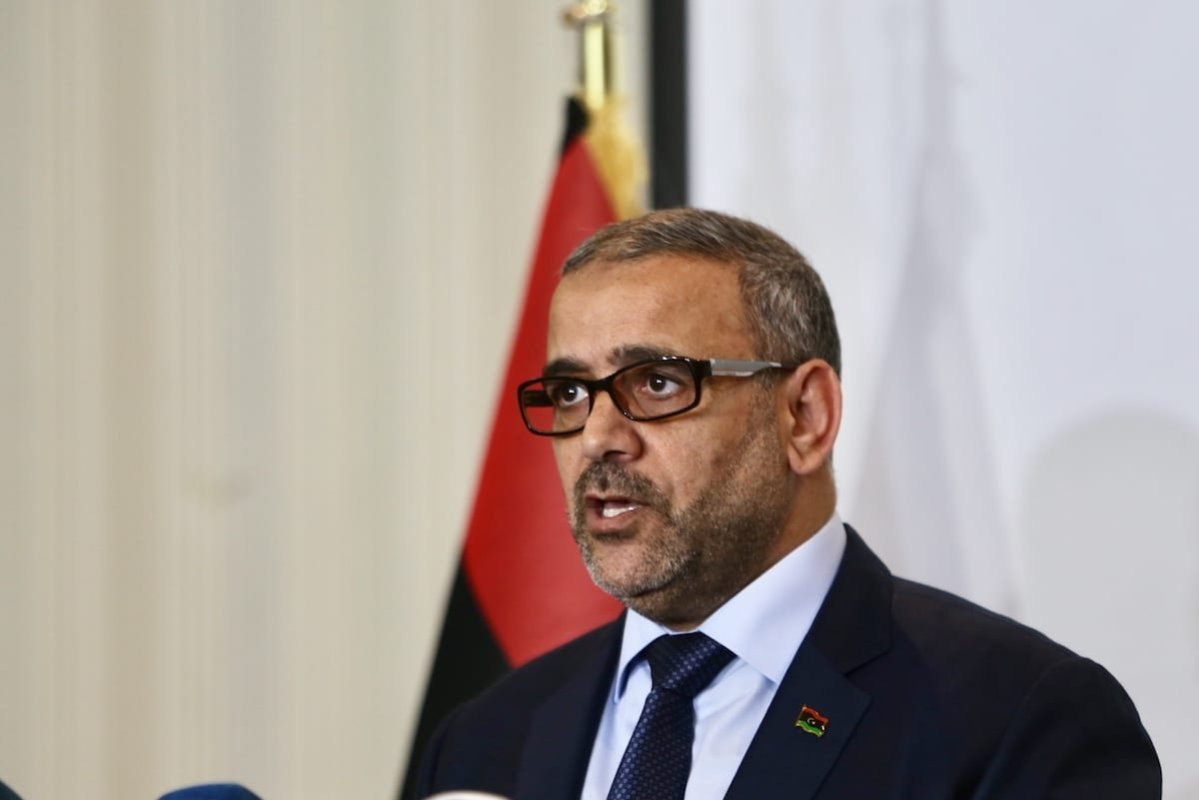 Chairman of the High Council of State of Libya Khalid al-Mishri speaks during a press conference in Tripoli, Libya on 24 June 2020. [Hazem Turkia - Anadolu Agency]