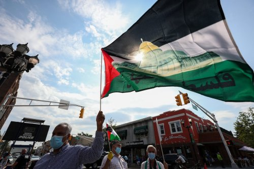 Palestinians and anti-zionist Orthodox Jews protest against Israeli annexation plan, on 3 July 2020 in North Bergen Township, New Jersey, United States. [Tayfun Coşkun - Anadolu Agency]