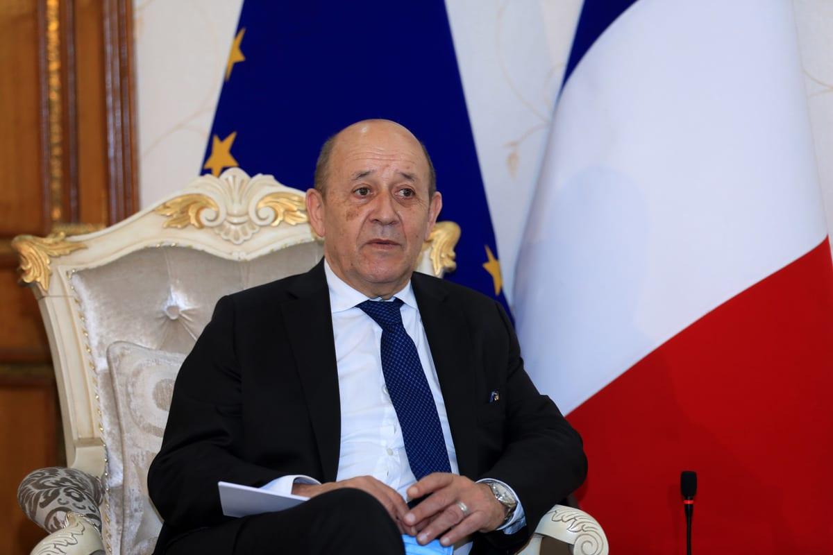 French Foreign Affair Minister Jean-Yves Le Drian in Baghdad, Iraq on 16 July ,2020 [Murtadha Al-Sudani/Anadolu Agency]