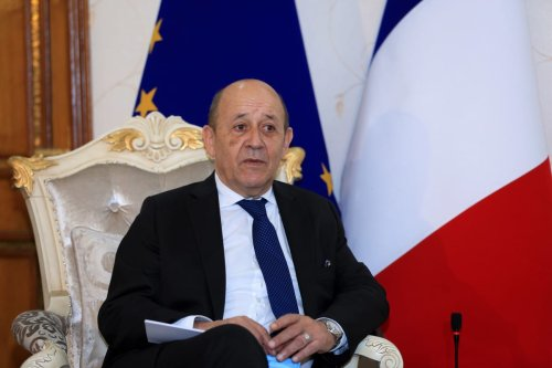 French Foreign Affair Minister Jean-Yves Le Drian in Baghdad, Iraq on 16 July ,2020 [Murtadha Al-Sudani/Anadolu Agency]
