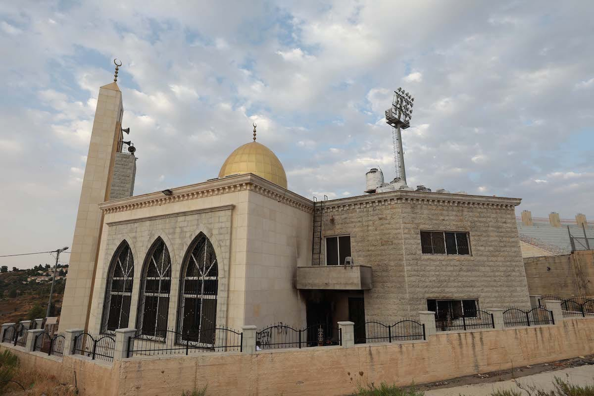 A view of a Mosque damaged by Israeli settlers in the West Bank on 27 July 2020 [İssam Rimawi/Anadolu Agency]