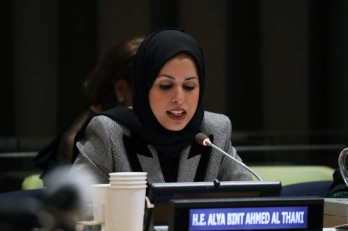 Ambassador Sheikha Alya Bint Ahmed Bin Saif Al-Thani, Permanent Representative of the State of Qatar to the UN in New York City, US on 8 March 2018 [Kim/Getty Images]