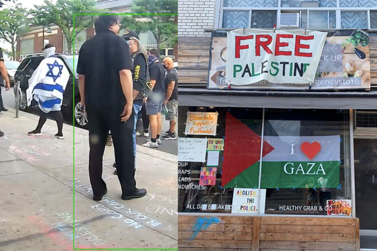 An attack on pro-Palestine activists by lobby groups favouring the state of Israel took a violent turn in Canada over the weekend as the right-wing Jewish terrorist group the Jewish Defence League (JDL), took to the streets in an effort to bankrupt a Toronto food store Foodbenders and take away restaurant which has taking an anti-racist stance [@rananazzalh/Twitter]