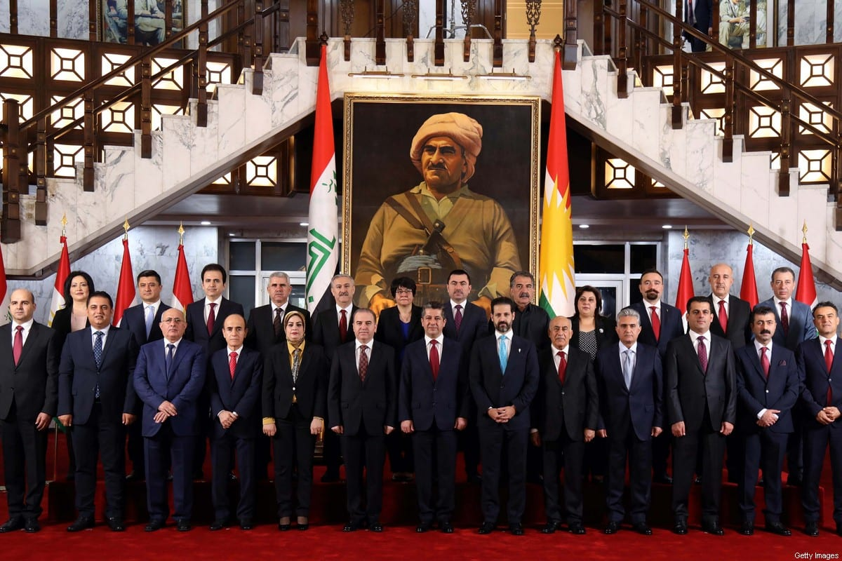 The members of the new cabinet of the Kurdistan Regional Government (KRG) on July 10, 2019 [AFIN HAMED/AFP via Getty Images]