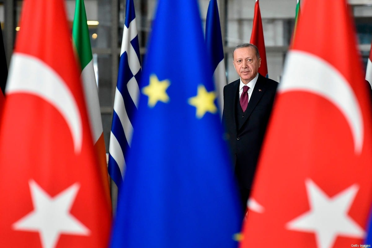 Turkish President Recep Tayyip Erdogan arrives before a meeting with European Commission President and EU Council President at the EU headquarters in Brussels on March 9, 2020 [JOHN THYS/AFP via Getty Images]