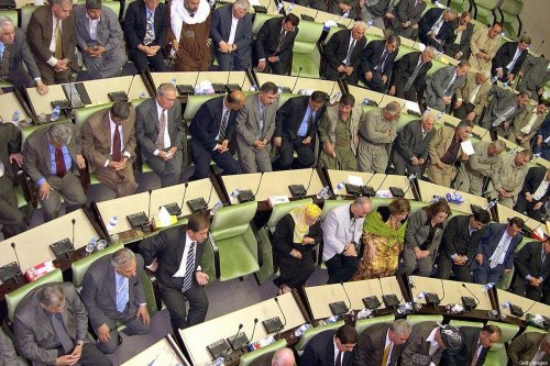 Kurdish parliament members listen on as the speaker dissolves the Kurdish parliament 07 April 2005, in the northern city of Arbil [SAFIN HAMED/AFP via Getty Images]