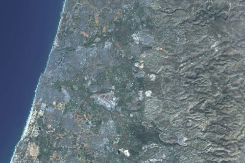 This is an enhanced Sentinel Satellite Image of Tel Aviv, Israel [Photo enhanced by maps4media via Getty Images]